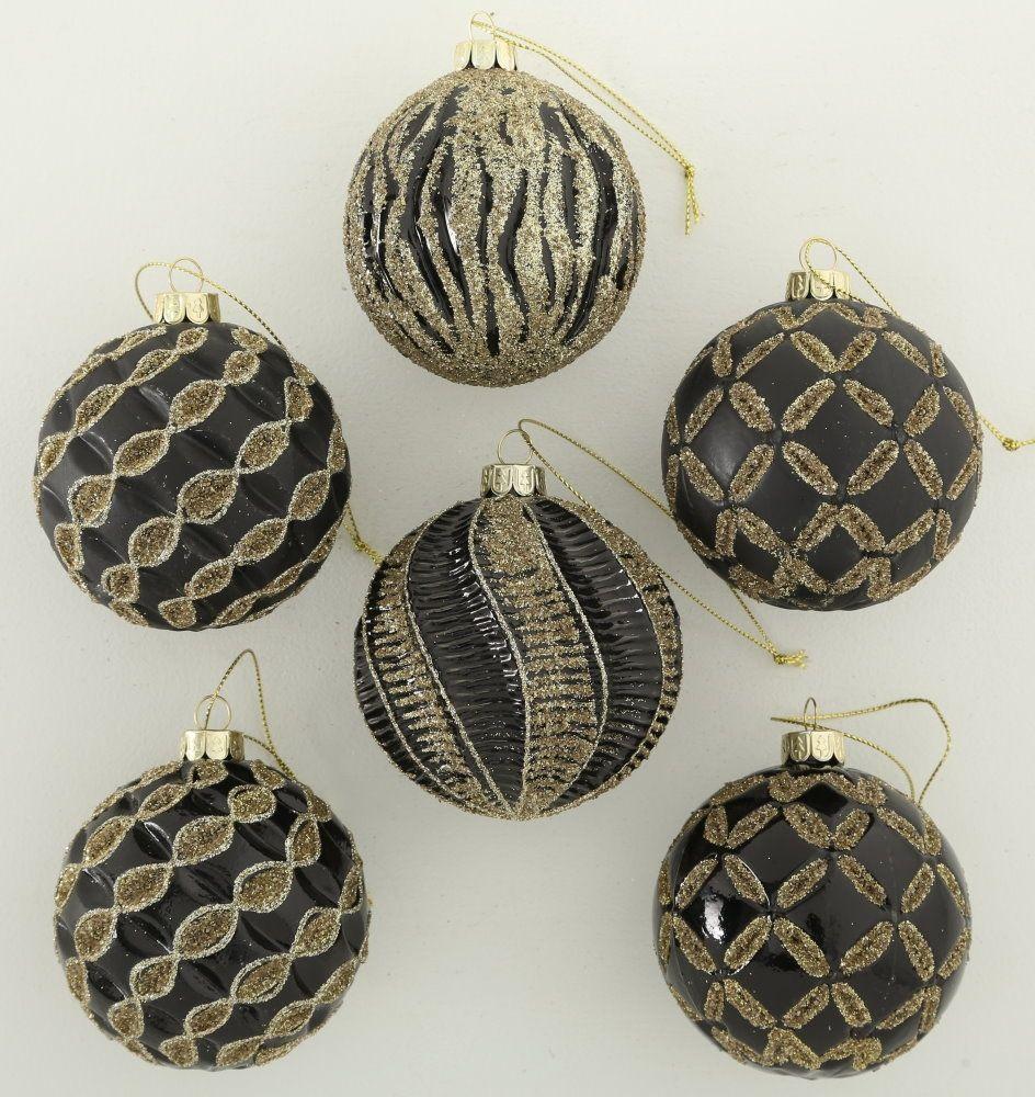 """MARC® Weihnachtskugel Christbaumkugel """"MYSTIQUE"""" Glas lackiert schwarz mit Glitter goldfarben"""