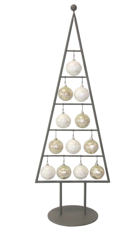 MARC® Weihnachtsbaum Christbaum Metall mit Kugeln Silber - 111cm