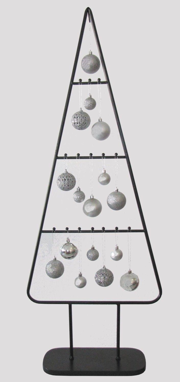 """MARC® Weihnachtsbaum Christbaum  """"METALL NOIR"""" mit Kugeln silber  115cm"""