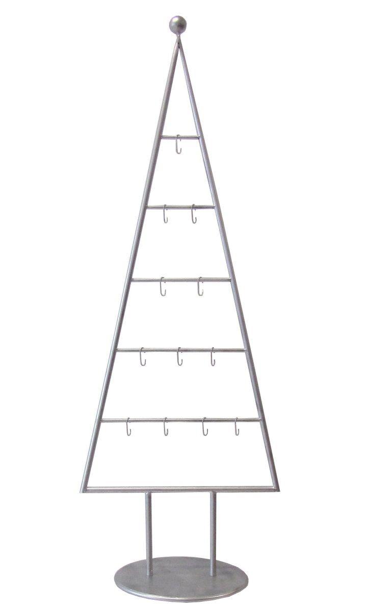 MARC® Weihnachtsbaum Christbaum Metall silber lackiert 115cm mit 12 Haken